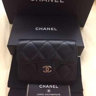 Chanel black caviar card wallet