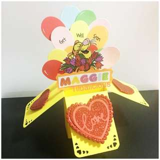 Custom made 'Get well' pop up card