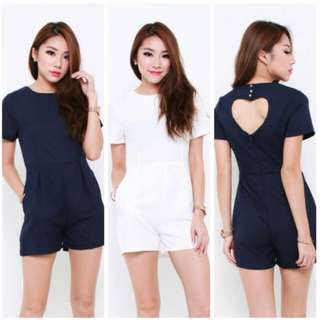 Heart Shaped Cut Out Romper in Navy Blue