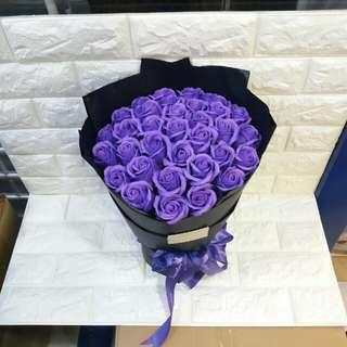 現貨款式 33支紫色圓款香皂玫瑰花