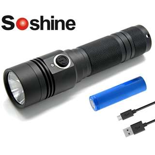 Soshine TC14 USB 充電 美國名廠 CREE XMK T6 1100流明 LED Flashlight 電筒 (跟 18650 充電池)- 原裝正貨