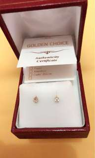 18k Solid Gold Earings with Genuine Diamonds