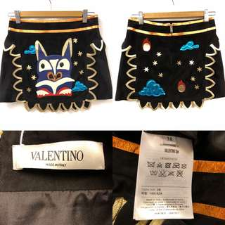 Valentino leather suede skirt black size 38
