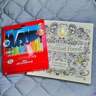 Colouring book + 24 steadtler colour pencil