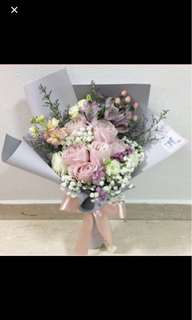 Light Pink Roses with Baby Breath Berries and Mix Fillers / Anniversary Bouquet Pastel