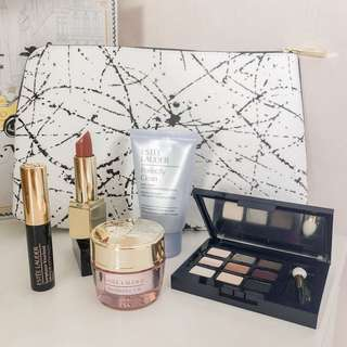 Estee Lauder Makeup / Skincare Gift Set • lipstick, mini bag, eyeshadow palette, mascara, cleanser mask, moisturizer cream • designer kit