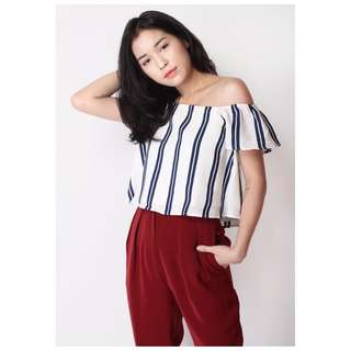 WORN ONCE AFA Goodness Offshoulder Top in Stripes (M)