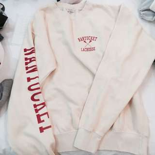 BN brandy Melville pale yellow Nantucket lacrosse graphic erica sweater pullover authentic bm