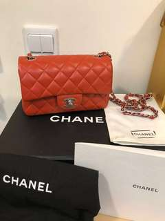 Chanel mini red lamb skin 20cm