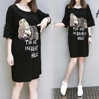 (XL~5XL) 2018 spring and summer fashion bear printing loose dress