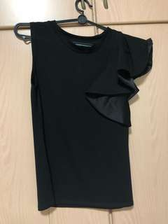 Black tank top with sleeve design on one side
