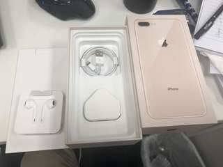IPhone 8 Plus box, charger, cable and earphone