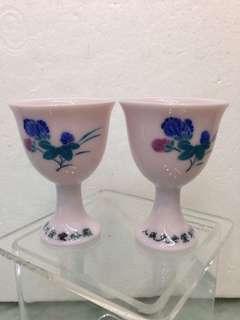 Porcelain-人民大會堂釉下花卉洒店杯H6cm(對)
