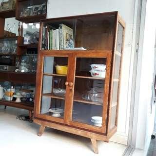 vintage A-leg mid-century Burmese teakwood display cabinet