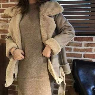 韓國連線 杏粉羊毛羔羊外套