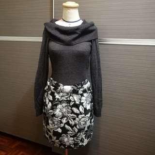 萊卡佛 羊毛連身印花短洋裝