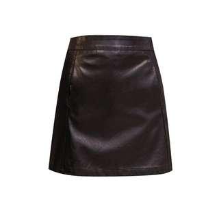 black ulzzang leather skirt