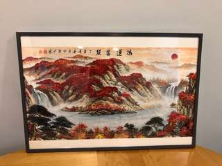 Fengshui Mountain Hand painting, framed