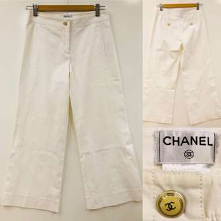 白色長褲 Chanel white cotton loose pants size 34
