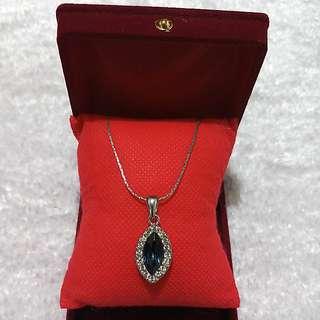 💍Sapphire with Diamond Precious Stone Sterling silver Pendant💍