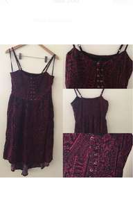 Red patterned dress size 10