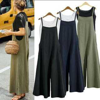 100% cotton Jumpsuit with 2 side pockets. PO