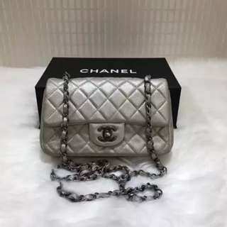 Chanel Goatskin Pearl Mini Rectangular Flap