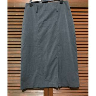 Charcoal Gray Pencil Skirt with Slit