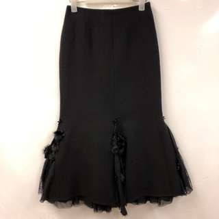 Shiatzy Chen black with lace and mink long skirt size F38