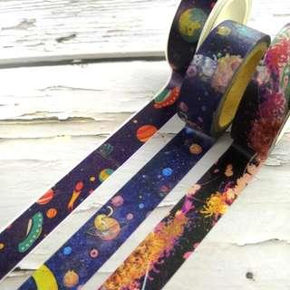 3款宇宙紙膠帶分裝 universe design Washi Tape Samples