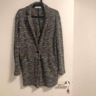 MANGO Grey Checker Blazer