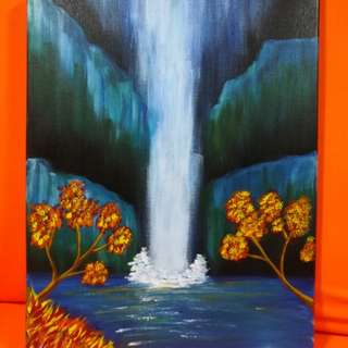 """Original hand painted Night waterfall with Acrylics on 12""""x16"""" Canvas with Frame"""
