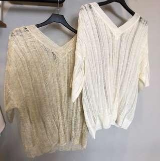 歐美V領性感針織亮絲金蔥透視短版上衣度假海灘罩衫杏色白色