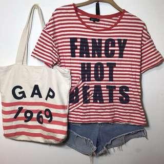 Net條紋純棉字母短袖T恤