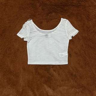 White Mesh Crop Top by HnM