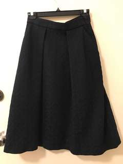 High waist Dark Navy / Black A line skirt, over knee length