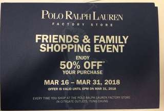 Polo Ralph Lauren 50% discount voucher coupon