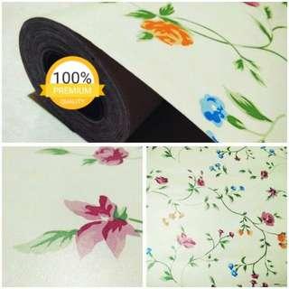 Grosir murah wallpaper sticker dinding putih bunga merah ungu