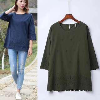 (3XL~6XL) 2018 jacket seven sleeves cotton embroidery positioning flower short sleeve hollow