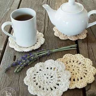 Flower Mug Coasters Crochet
