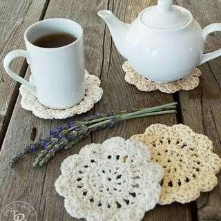 Flower Mug Coasters Crochet