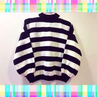 韓國🇰🇷黑白 條紋 QQ 針織 上衣 橫條紋