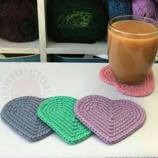 Heart Mug Coasters Crochet