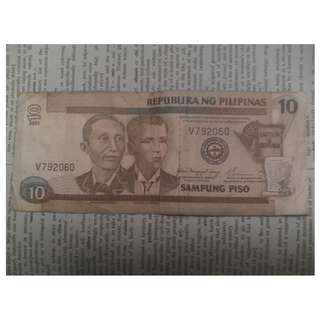 10 peso bill old note