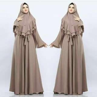 SLF - 0318 - Dress Gamis Busana Muslim Wanita Adreena Sari Maxy Busui Plus Khimar