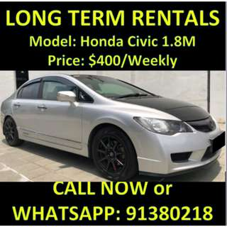 Honda Civic 1.8M Long Term Car Rental