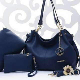 Sembonia 3 in 1 Handbag Set Dark Blue Color