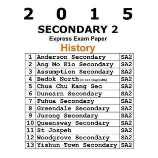 Rare! 2015 Secondary 2 History Exam Paper / Test Papers / Past Year Papers / Top School Papers  / Secondary 2 / School Papers / History / Express / Normal Academic / NA + Free download of past year exam paper