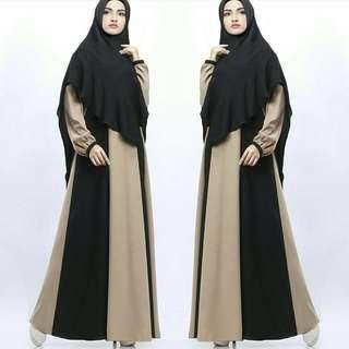 SLF - 0318 - Dress Gamis Busana Muslim Wanita Azmiya Sari Maxy Busui Plus Khimar