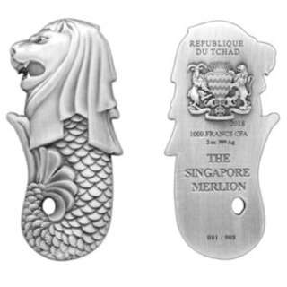 The Singapore Merlion 2 oz Silver Antiqued Coin
